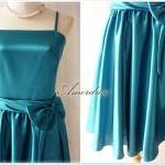 Teal Blue Party Dress.. Elegant Vin..