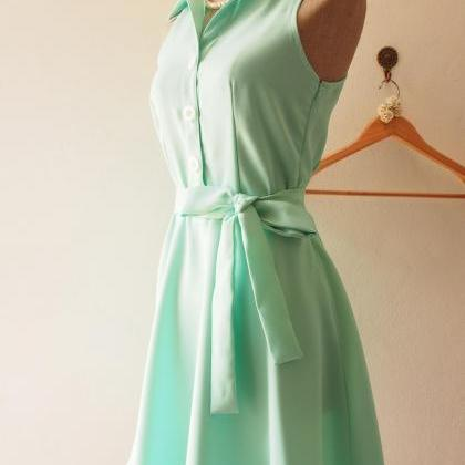 Mint Green Bridesmaid Dress,Skater ..