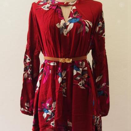 Red Bohemian Dress,Hippie Dress,Boh..