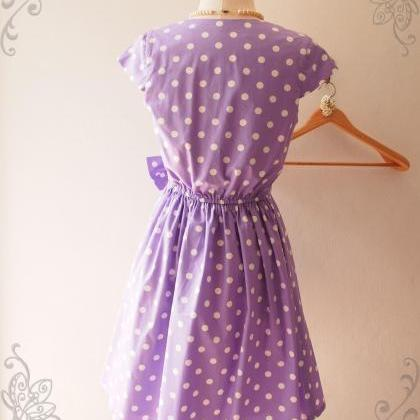 Summer Purple Polka Dot Dress Bride..