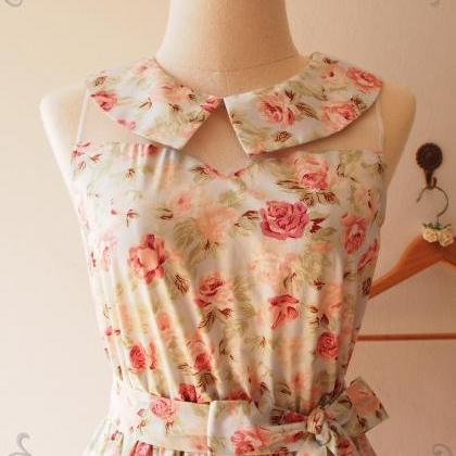 Collar Dress Blue with Coral Floral..