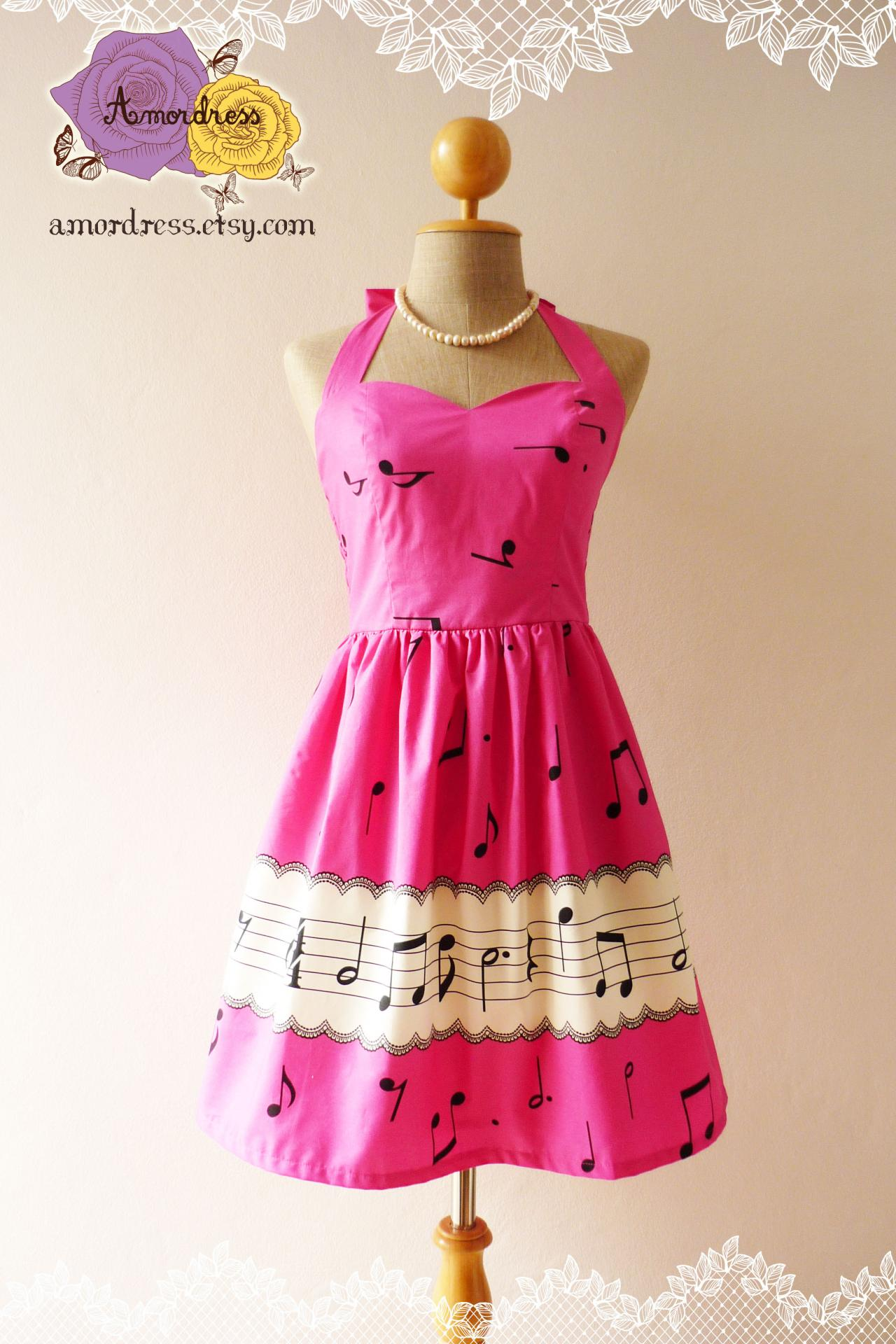 Music Lover Dress Music Dress Hot Pink Retro Party Cocktail Bridesmaid Choir Birthday Concert Event Every Day Dress -Size XS,S,M,L,XL-