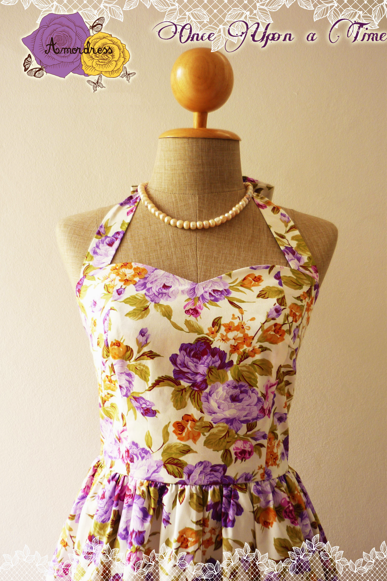Floral Dress in Purple Once Upon a Time -Size XS, S, M, L, XL