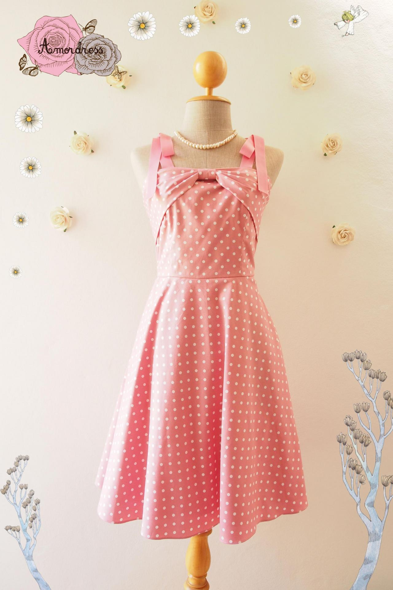 Candy Party Pink Summer Dress Polka Dot Retro Dress Vintage Style Dress Pink Swing Dress Tea Party Dress- Size XS-XL