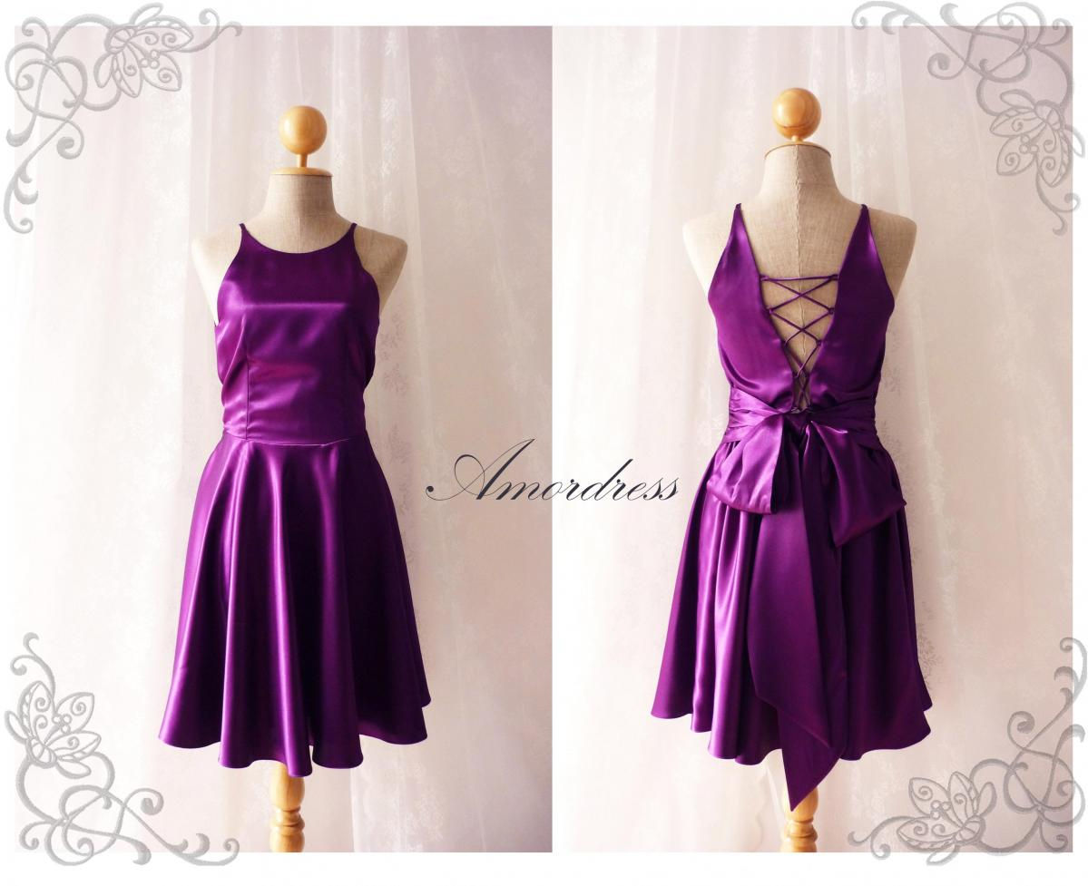 Party Queen Purple Violet Party Dress Bodice Open Back Dress Backless Vintage Inspired Prom Wedding Dinner Bridesmaid Evening Night Dress