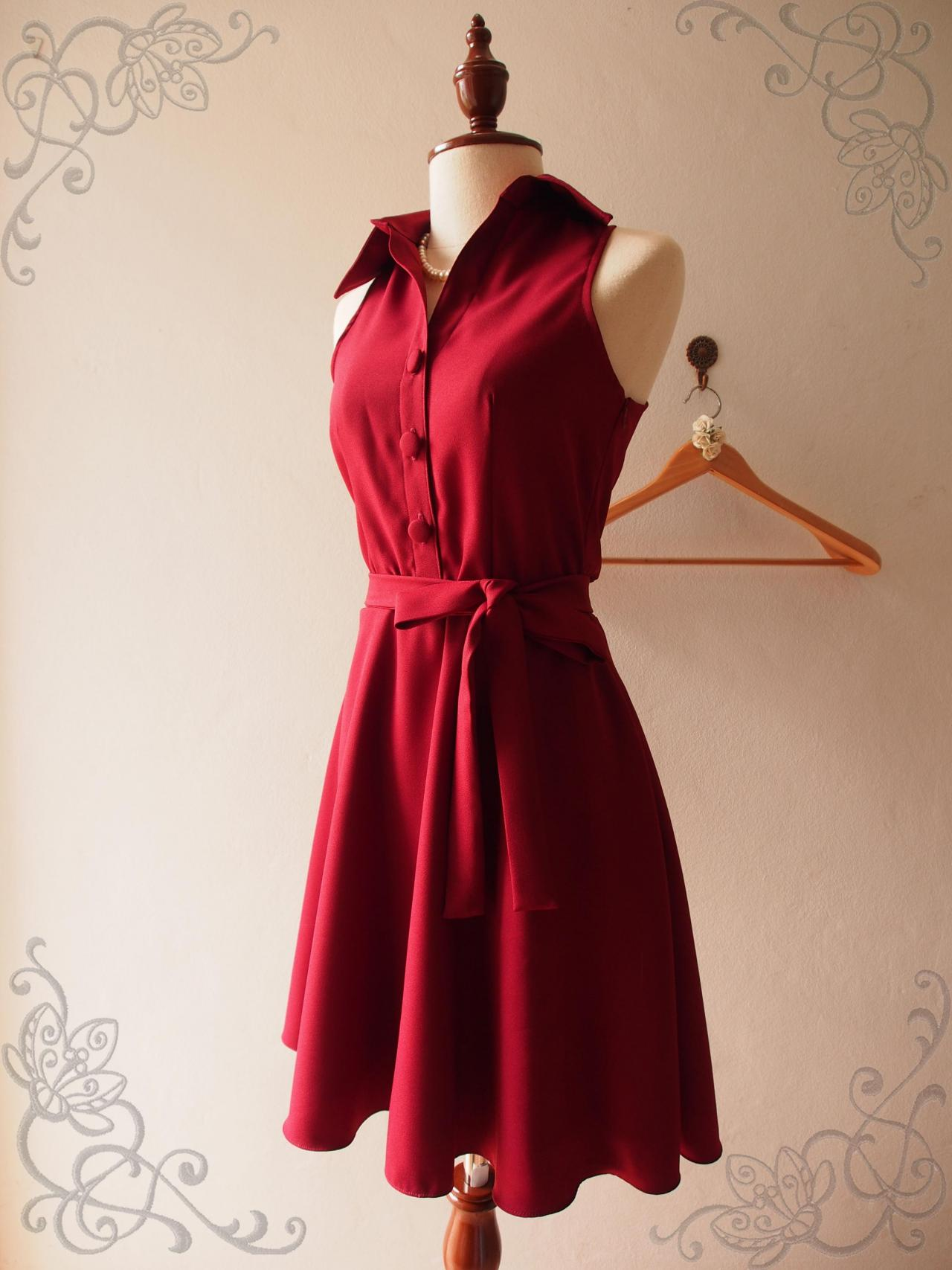 Red Christmas Dress, Red Summer Dress, Red Shirt Dress, Skater Dress, Midi Dress, Red Sundress, Vintage Inspired Dress, - DOWNTOWN - XS-XL, Custom