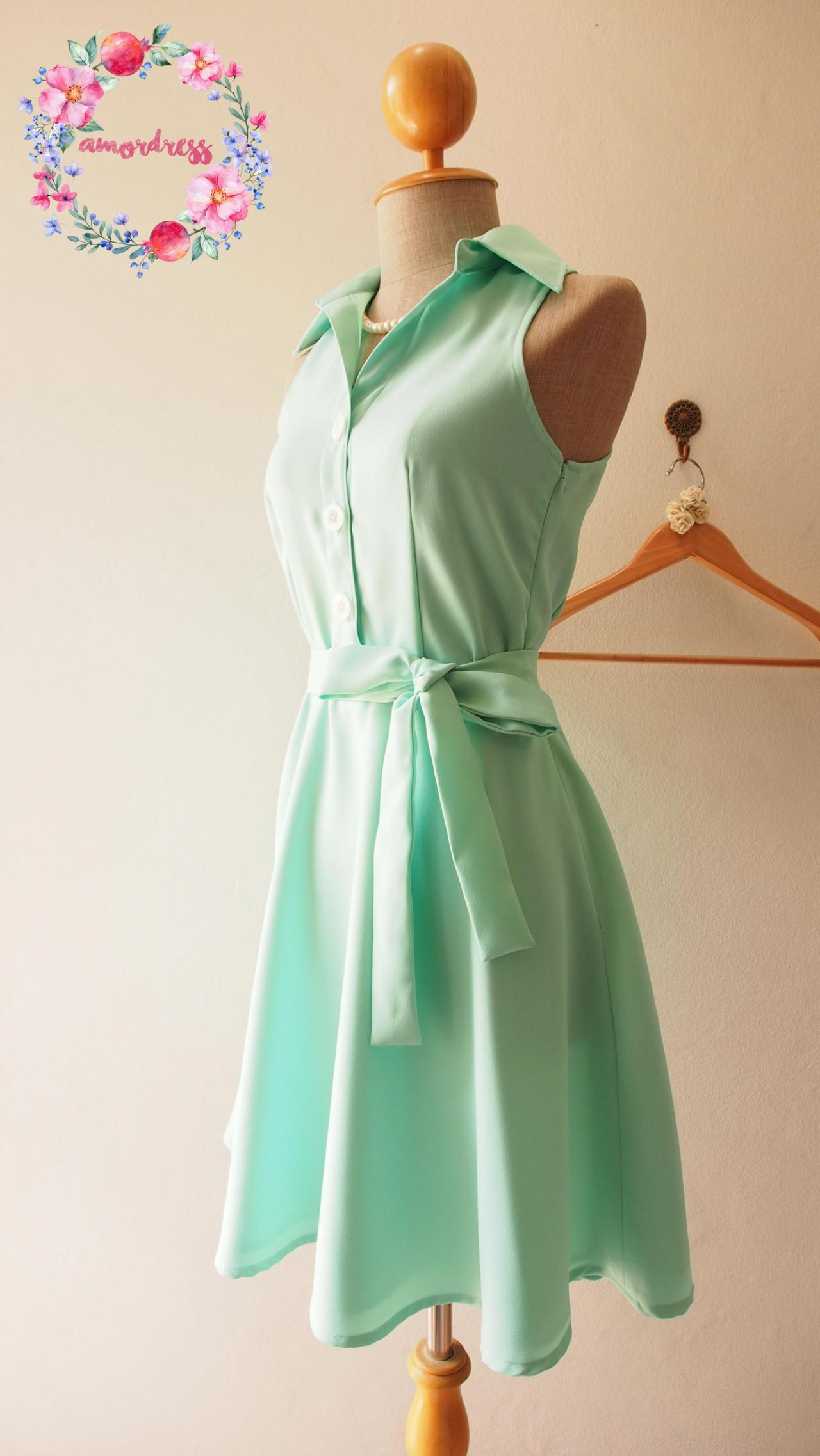 Mint Green Bridesmaid Dressskater Dress Casual Dressmint Party