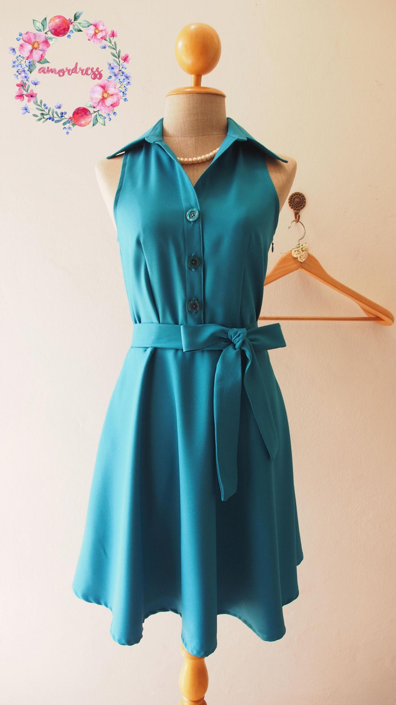 Teal Dress, Teal Bridesmaid Dress, Teal Summer Dress, Shirt Dress, Skater Dress, Midi Dress, Red Sundress, Vintage Inspired Dress, - DOWNTOWN - XS-XL, Custom