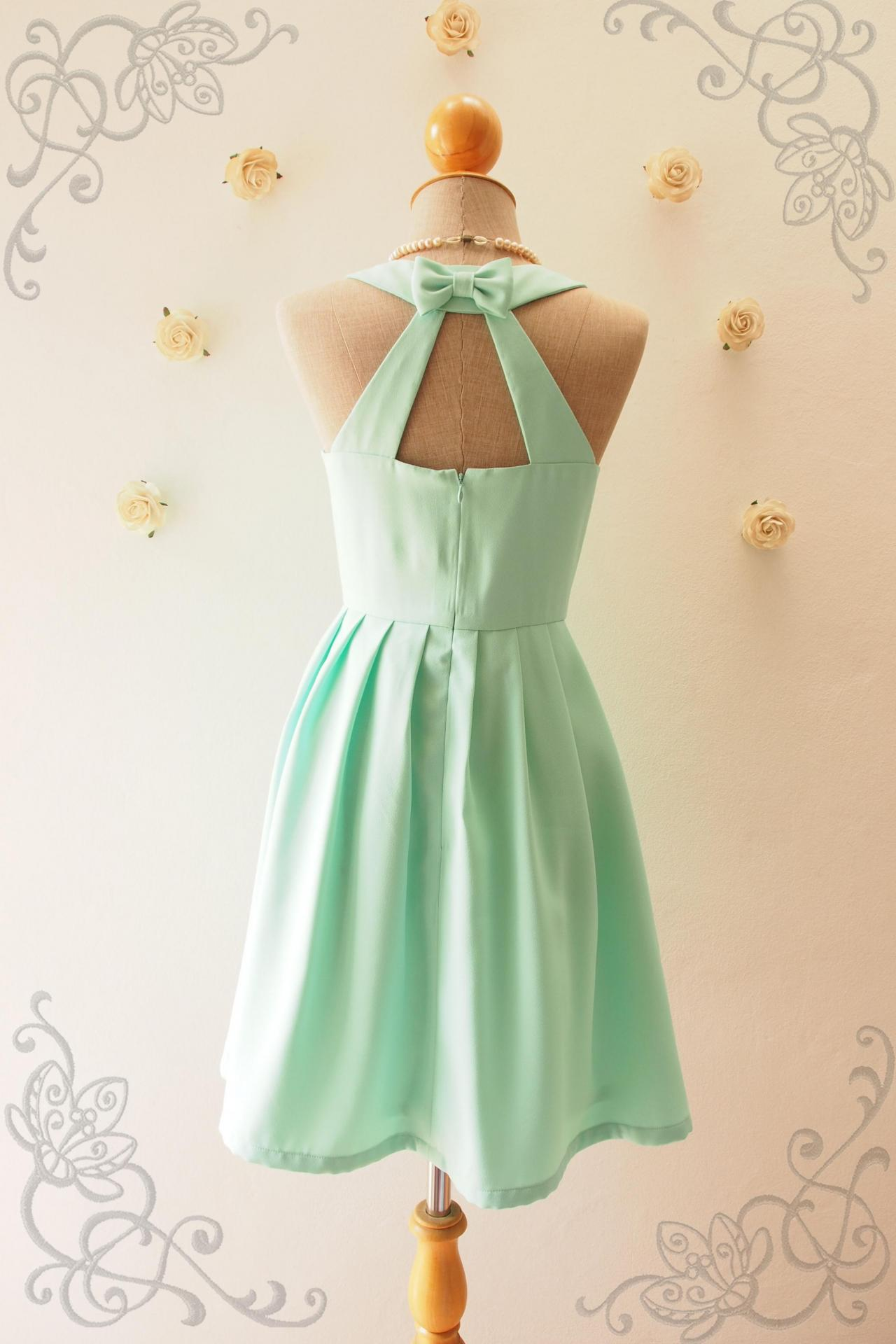 LOVE POTION - Mint Green dress, Mint Bridesmaid Dress, Mint Green Party Dress, Vintage Inspired, Audrey Hepburn Dress, Skater Dress, Mint formal dress, Summer Dress