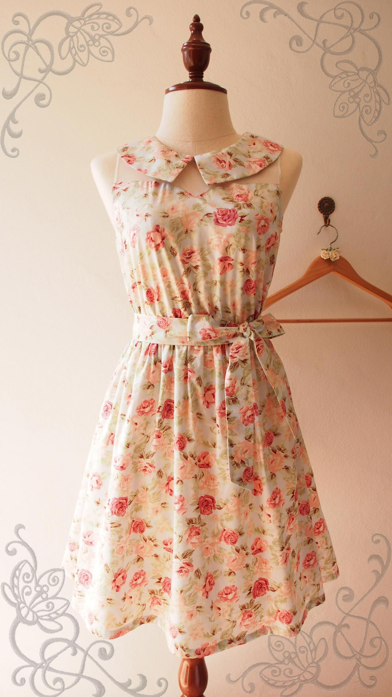 Collar Dress Blue with Coral Floral Vintage Inspired Rustic Wedding Bridesmaid Peter Pan Collar Tea Party Summer Midi Dress -XS-XL