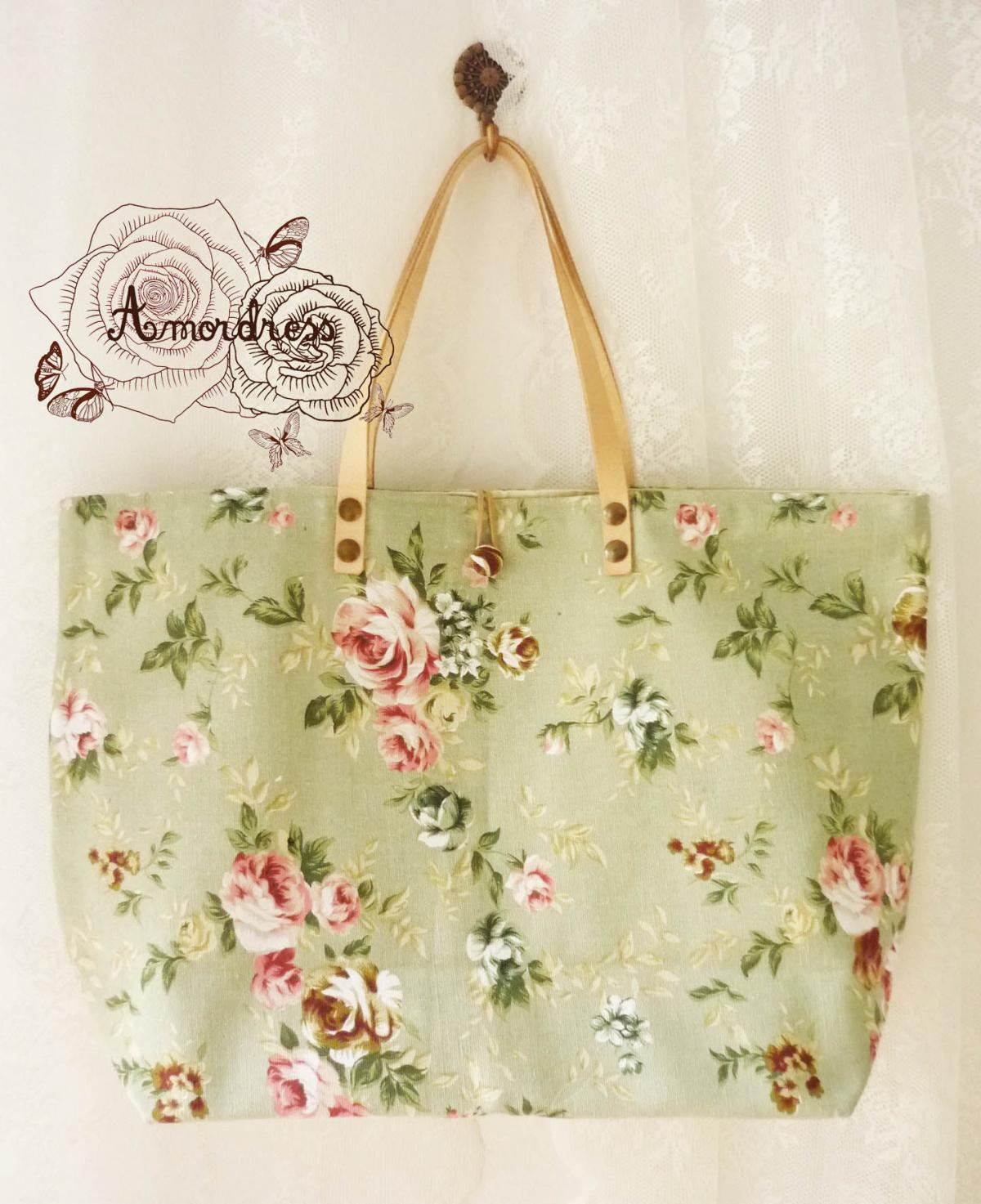 Floral Tote Bag Printed Canvas Bag Genuine Leather Strap Green with Pink Rose Shabby Chic Bag ...Amor The Inspired Collection...