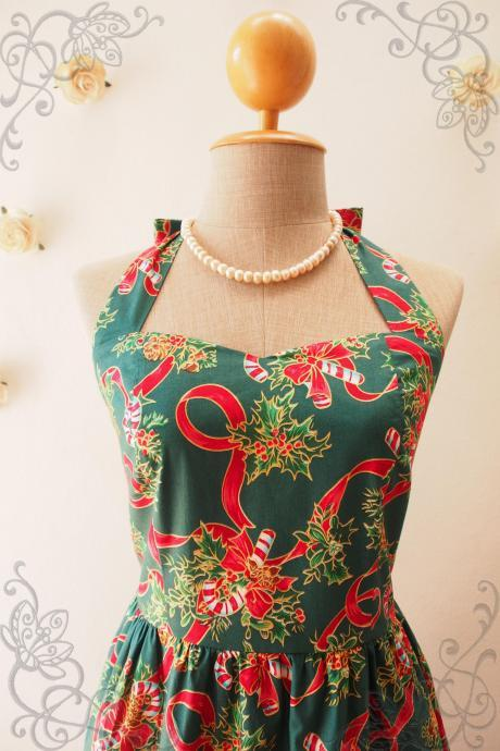 Women Christmas Dress in Green, Vintage Style Dress, Christmas Party Dress -XS,S,M,L,XL