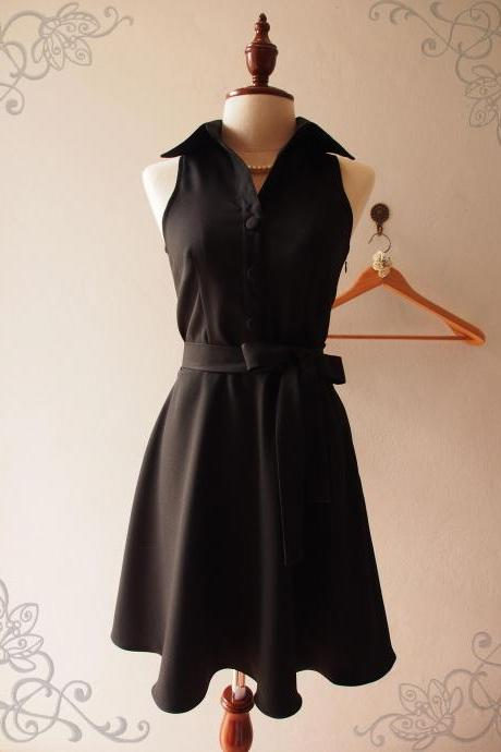Skater Dress, Little Black Dress, Black Shirt Dress, Black Summer Dress, Midi Dress, Black Sundress, Vintage Inspired Dress, - DOWNTOWN - XS-XL, Custom