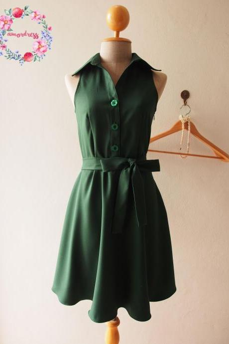 Skater Dress, Forest Green Dress, Green Shirt Dress, Green Summer Dress, Midi Dress, Green Sundress, Vintage Inspired Dress, - DOWNTOWN - XS-XL, Custom