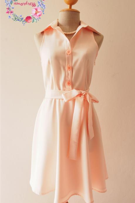 Light Peach Bridesmaid Dress, peach Summer Dress, peach Shirt Dress, Skater Dress, Midi Dress, Vintage Sundress, Vintage Inspired Dress, - DOWNTOWN - XS-XL, Custom