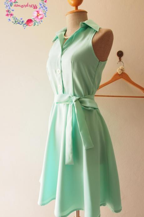 Mint Green Bridesmaid Dress,Skater Dress, Casual Dress,Mint Party Dress, Mint Green Summer Dress, Shirt Dress, Midi Dress, Mint green Sundress, Vintage Inspired Dress, - DOWNTOWN - XS-XL, Custom