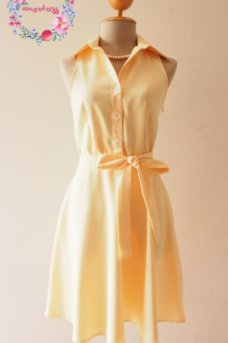 Pastel Yellow Dress,Yellow Bridesmaid Dress, Yellow Summer Dress, Yellow Skater Dress, Shirt Dress, Formal Dress, Midi Dress, Vintage Sundress, Vintage Inspired Dress, - DOWNTOWN - XS-XL, Custom