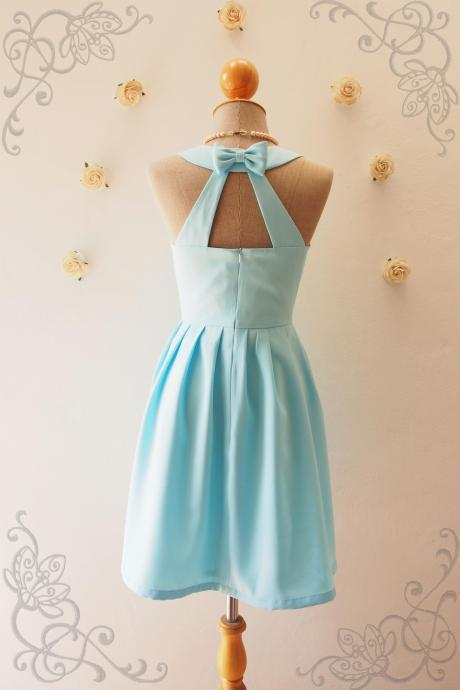 LOVE POTION - Blue backless dress, Blue Bridesmaid Dress, Baby Blue Dress, Blue Party Dress, Vintage Inspired, Audrey Hepburn Dress, Skater Dress, Blue Summer Dress