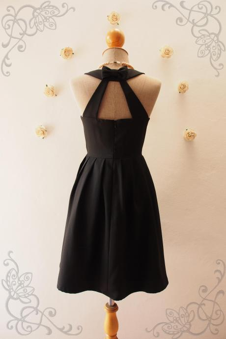 LOVE POTION - Black backless dress, Black Prom Dress, Black Cocktail Dress, Black Bridesmaid Dress, Black Dress, Blue Party Dress, Vintage Inspired, Audrey Hepburn Dress, Skater Dress, Black Summer Dress