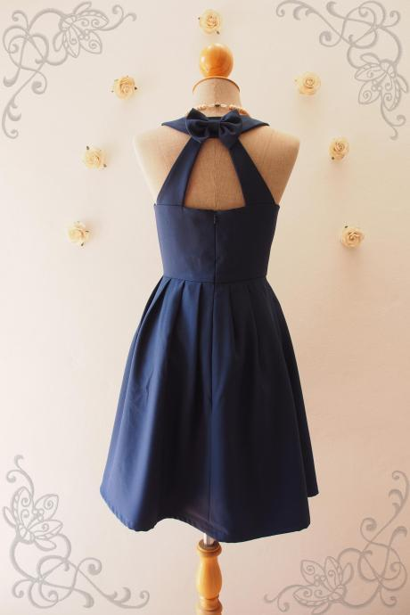 LOVE POTION - Navy Bridesmaid Dress, Vintage Inspired, Navy Backless Dress, Dark Blue Dress, Navy Graduation dress, Navy sundress,Summer Dress, Skater Dress, Midi Dress, Vintage Sundress, Vintage Inspired Dress, - DOWNTOWN - XS-XL, Custom