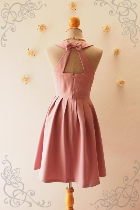 LOVE POTION - Nude pink dress,Nude Bridesmaid Dress,Nude Pink Party Dress, Vintage Inspired, Audrey Hepburn Dress, Skater Dress, Mint formal dress, Summer Dress