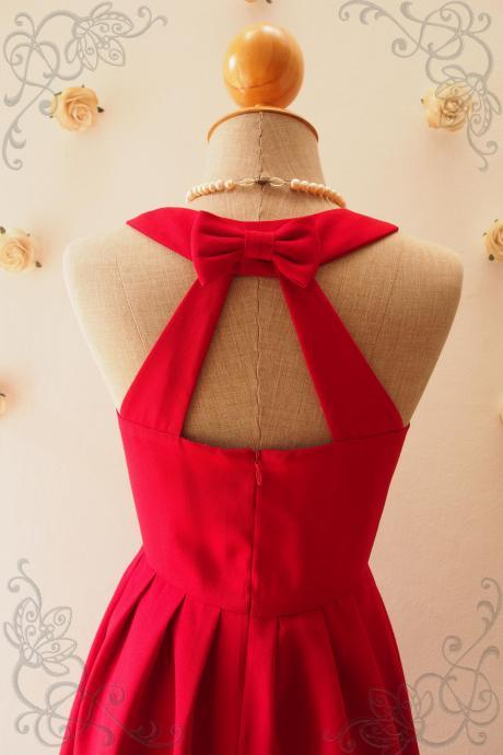 LOVE POTION - Red Bridesmaid Dress, Red Backless Dress,Red Dress,Graduation dress, Red sundress, Red Summer Dress, Skater Dress, Midi Dress, Vintage Sundress, Vintage Inspired Dress, - DOWNTOWN - XS-XL, Custom