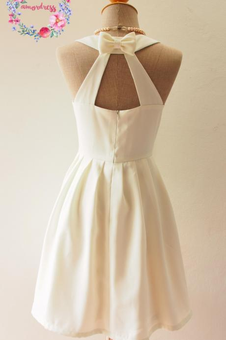 LOVE POTION - White dress, White Bridesmaid Dress, White Wedding Party Dress, White Vintage Dress, Audrey Hepburn Dress, White Skater Dress, Formal dress, Summer Dress