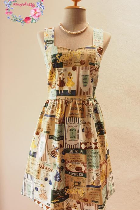 Summer Dress, Vintage Retro Dress, 50's Party Dress, Pin Up Rockabilly Dress, Quirky Dress Yellow Brown Navy Shade - xs-xl