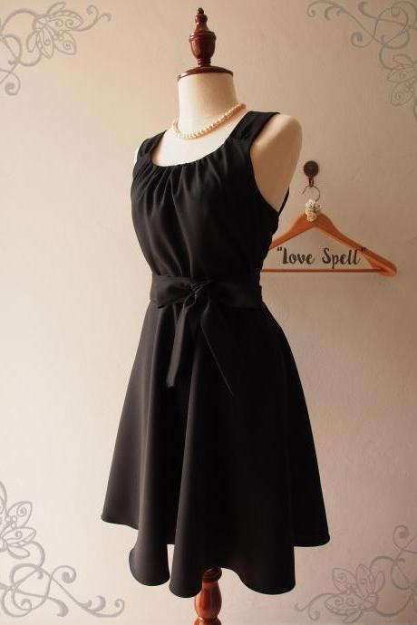 Black Skater Dress,Little Black Dress,Black Cocktail Dress, Black Graduation Dress, XS-XL
