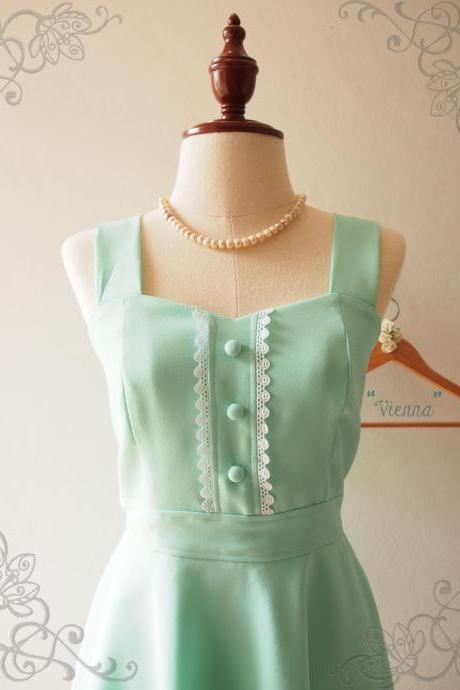 Mint Green Bridesmaid Dress, Mint Green Skater Dress, Mint Green Party Cocktail Dress, Vintage Inspired - VIENNA -XS-XL