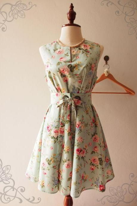 Pocket Dress Pale Green Floral Dress Maternity Dress Vintage Inspired Loose Dress Boho Floral Dress Floral Bridesmaid Dress Tea Dress - ONE FINE DAY - XS-XL