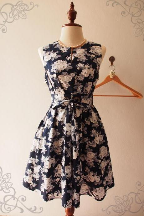Navy Floral Dress Floral Bridesmaid Dress Maternity Dress Pocket Dress Navy Summer Dress Sundress - ONE FINE DAY - XS-XL