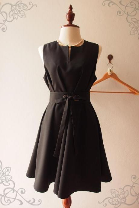Little Black Dress, Black Vintage Inspired Classic Dress, Black Party Dress Long Dress Pockets Dress - ONE FINE DAY - XS-XL
