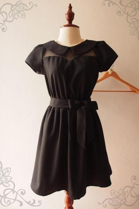 Black Collar Dress Peter pan Collar Dress Cute Vintage Inspired Party Dress XS-XL