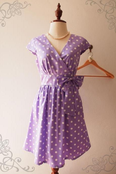 Summer Purple Polka Dot Dress Bridesmaid Graduation Retro Dress Rockabilly Dress Sleeve Purple Midi Dress XS-XL