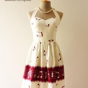 Music Lover White Cream Dress Dark Red Retro Party Cocktail Bridesmaid Choir Birthday Concert Event Every Day Dress -Size XS,S,M,L,CUSTOM-