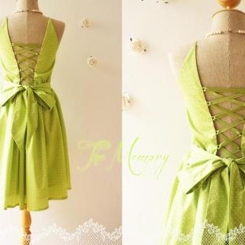 Vintage Inspired Dress in Bright Lime Green Back Corset Dot Green Dress Tea Party Bridesmaid Beautiful Day Dress - The Memory -Size S-M-