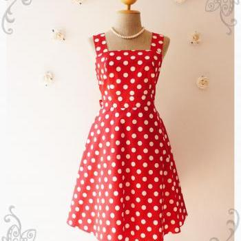 Red Summer Dress Bridesmaid Dress Vintage Style Dress-Size XS,S,M,L,XL