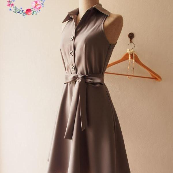 Skater Dress, Charcoal Gray Dress, Gray Summer Dress, Gray Shirt Dress, Midi Dress, Gray Sundress, Vintage Inspired Dress, - DOWNTOWN - XS-XL, Custom