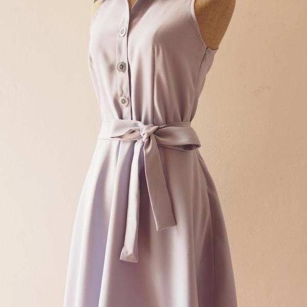 Skater Dress, LightGray Dress, Light Gray Summer Dress, Gray Shirt Dress, Midi Dress, Gray Sundress, Vintage Inspired Dress, - DOWNTOWN - XS-XL, Custom